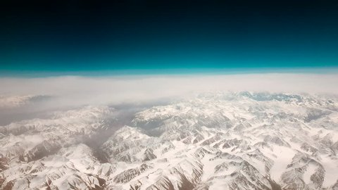 Himalayas mountains, Nepal, May 2018: aerial view on the snowy tops of Himalayas mountains