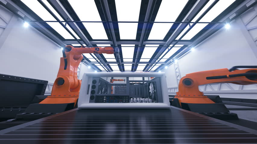 Beautiful Robotic Arms Assembling Computer Cases On Conveyor Belt. Futuristic Advanced Automated Process. 3d Animation. Business, Industrial and Technology Concept. 4K Ultra HD 3840x2160. | Shutterstock HD Video #1010882672