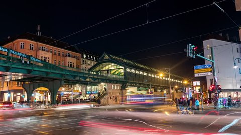 Berlin, Germany - February 15, 2018: Berlin Timelapse view showing Eberswaldestrasse U-bahn Station with peak hour traffic at night