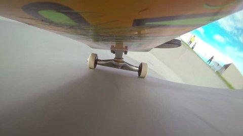 CAMERA UNDER THE SKATEBOARD: Skateboarding in a skatepark