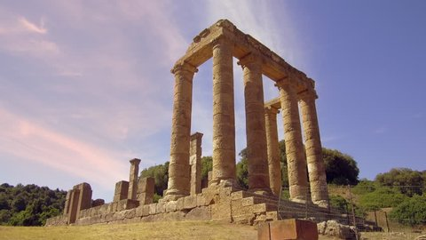 Temple of Antas, Fluminimaggiore, Sardinia; : static shot of  Roman Ionic temple colums built over an earlier Cartheginian Temple