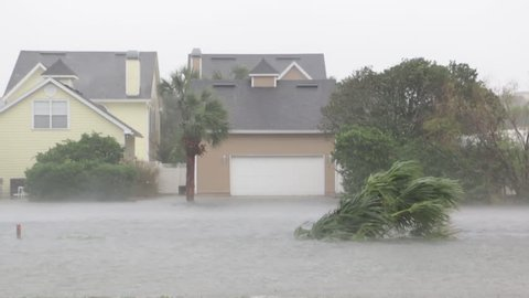Hurricane Storm Surge Inundates Neighborhood