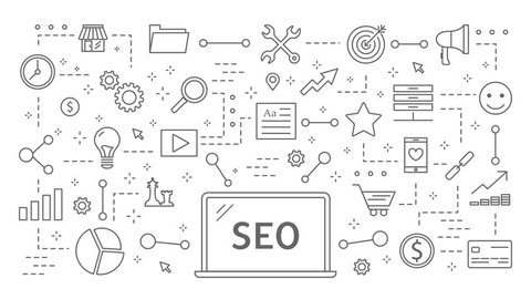 SEO plan animation. Flat line motion graphic with icons appearing.