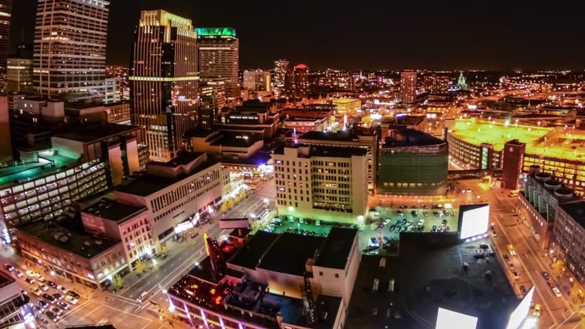 Aerial time lapse of city and office at night | Shutterstock HD Video #1011014582