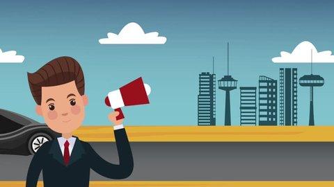 Businessman with bullhorn at city HD animation