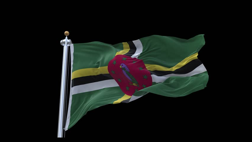 Realistic Ultra-HD flag of the Dominica waving in the wind. Seamless loop with highly detailed fabric texture. Loop ready in 4k resolution.