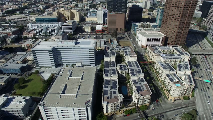 Drone shot over luxury downtown Los Angeles living | Shutterstock HD Video #1011071612