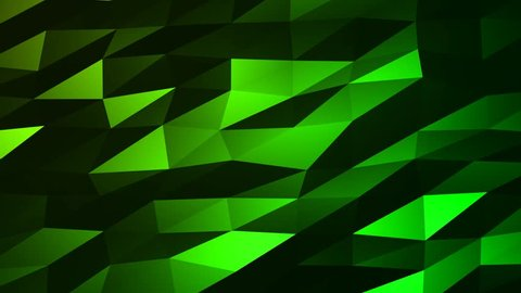 Loopable Abstract Green Low Poly 3D surface as CG background. Soft Polygonal Geometric Low Poly motion background of shifting Green polygons. 4K Fullhd seamless loop background render V79