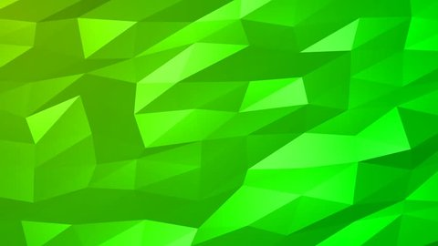 Loopable Abstract Green Low Poly 3D surface as CG background. Soft Polygonal Geometric Low Poly motion background of shifting Green polygons. 4K Fullhd seamless loop background render V90