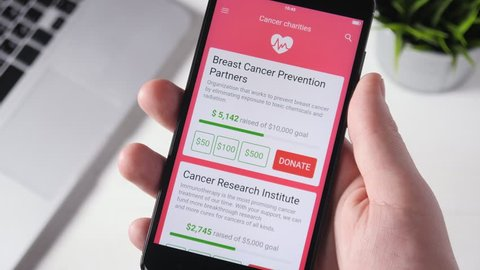 Making Charity Donation To Cancer Charity Using Smartphone App