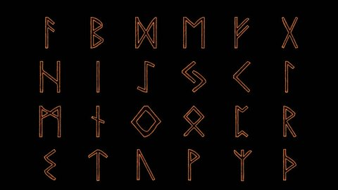 Viking Rune Alphabet in Alpha Channel