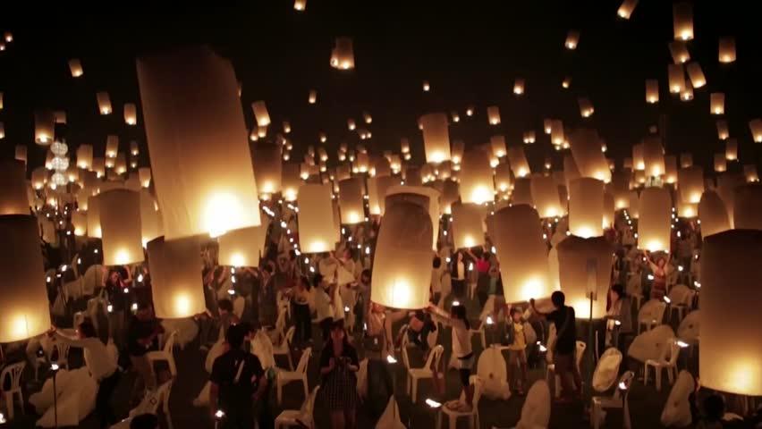 Very nice footage of lantern festival, rise festival of lights. beautiful lantern in the night sky.