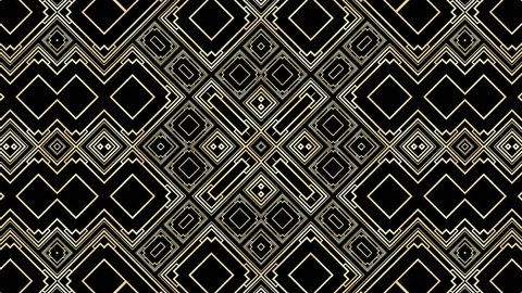 Art Deco rotating background. Kaleidoscopic video loop. Golden geometric shapes. Luxury background concept. Full cycle is 6 seconds.