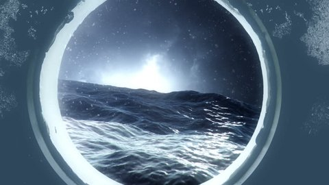 Watching a Storm Through a Submarine Porthole in the Stormy Ocean