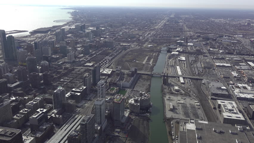 CHICAGO, IL - MARCH 19:Overview aerial view of downtown Chicago, Illinois on March 19, 2018. #1011196982