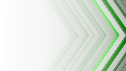 Green lines and free space. Computer generated abstract motion backgroumd. Seamless loop 3D render smooth animation 4k UHD (3840x2160)