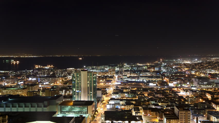 High Angle View of SoMa, San Francisco at Night | Shutterstock HD Video #1011229922