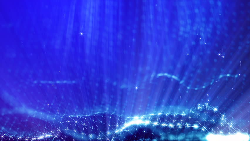 3d loop abstract animation with beautiful light effects of glow particles with depth of field, bokeh and light rays for seamless abstract background vj loop like microcosm or space. sparkling blue 8