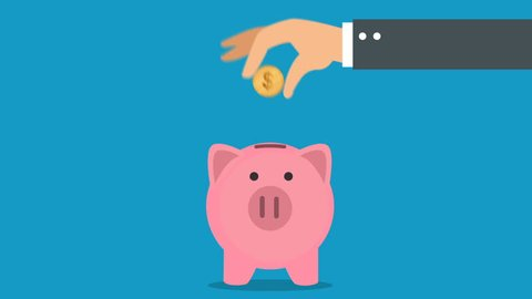 Business hand putting coin to piggy bank animation video. Money saving motion concept.
