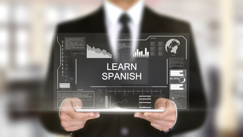 Learn Spanish, Businessman with Hologram concept | Shutterstock HD Video #1011267482