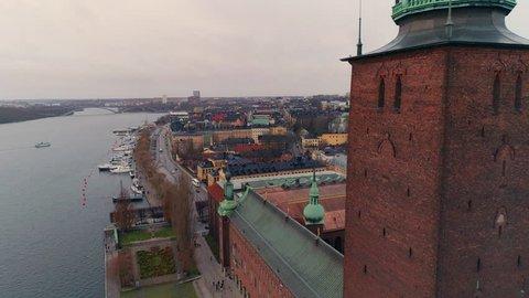 Drone shot of Stockholm City Hall. Stockholms stadshus, Nobel prize Town Hall building. Kungsholmen