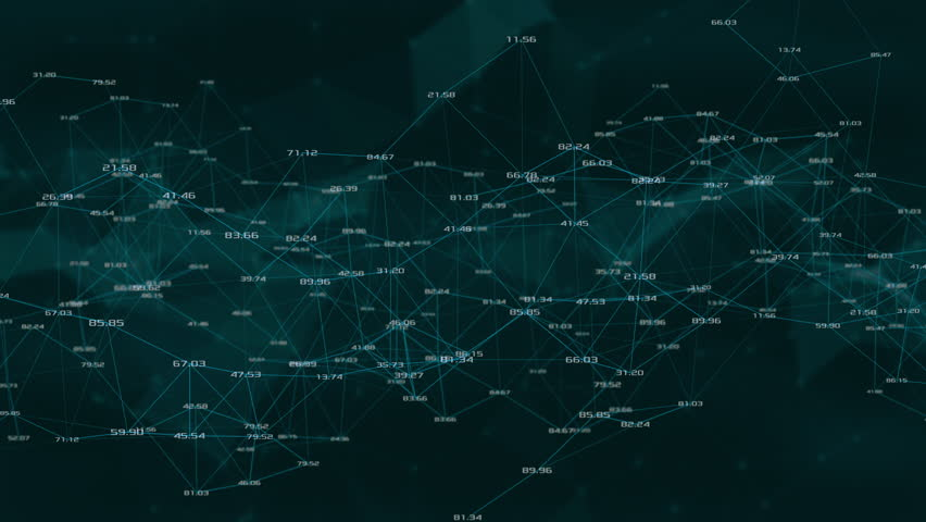 abstract network of lines and random numbers with polygons and clouds on background. this type of network is also called, plexus. loop animation (3d render)