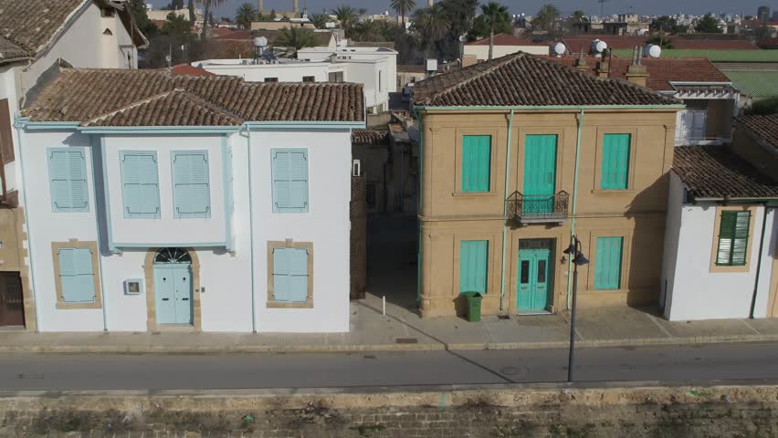 KKTC Nicosia Historical Houses Cyprus Drone Lefkosa City Airview Historical Old Town Buildings Border