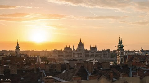 Night to day timelapse of Hungarian Parliament Building with Budapest city skyline in Hungary, time lapse 4K