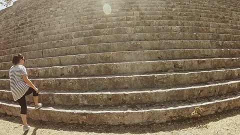 Uxmal/MEXICO - 21 JANUARY 2018: Stairway and top of a pyramid to Uxmal