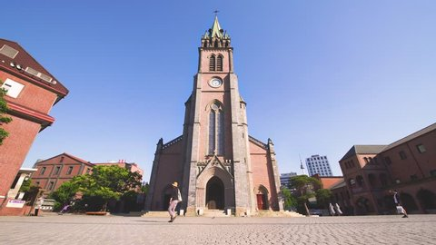 Cityscape of Myeongdong Cathedral in central Seoul, South Korea