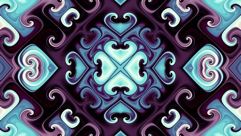 Symmetric vintage abstract ornament. Transform curved shapes. Abstract flooping footage.