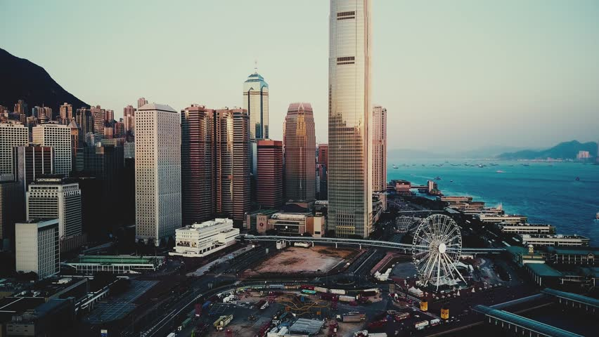 AERIAL. Cinematic hight contrast video. top view of Hong Kong city | Shutterstock HD Video #1011441182