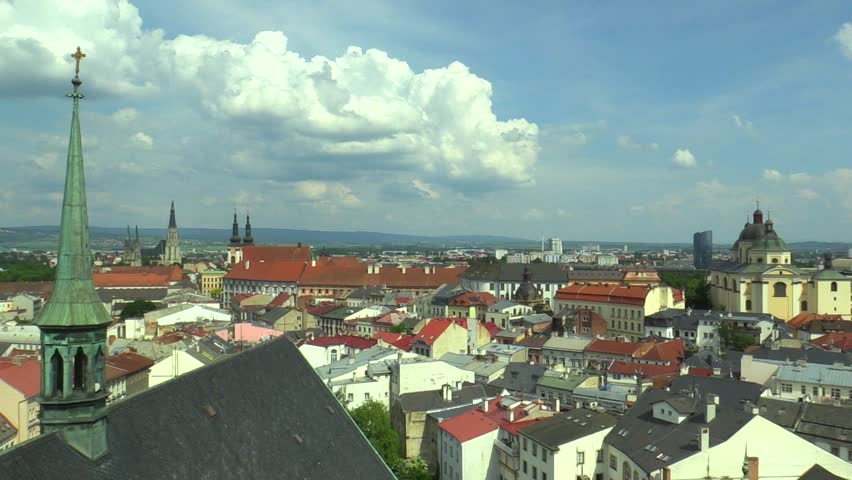 The historical city of Olomouc, view panorama aerial from the tower of the Gothic church of St. Moritz. Gothic cathedral of St. Wenceslas and the Baroque Church of Our Lady of Snow and St Michael