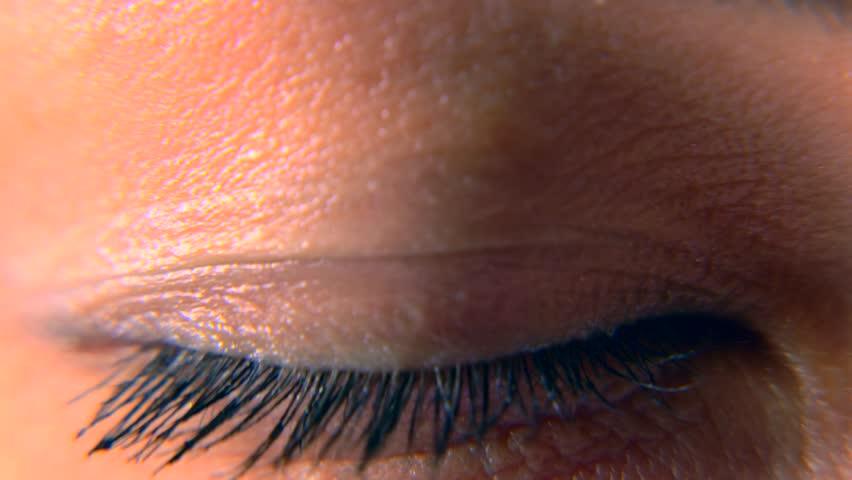 Close-up. Macro Blue Female Human Eye. Pupil Cornea Iris Eyeball Eyelashes. Blink Open Closed. 30p Slow motion 1/2 Real Time Speed 60p | Shutterstock HD Video #1011459752
