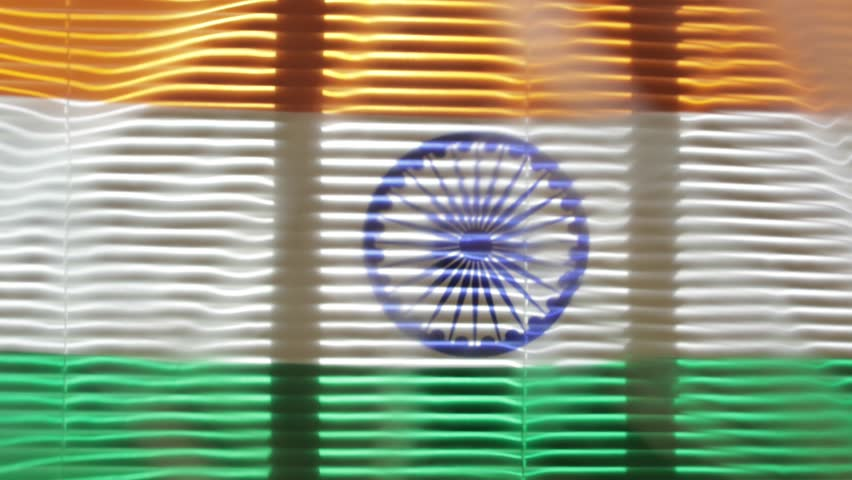 Hanging flag of India at wide jalousie window | Shutterstock HD Video #1011468782
