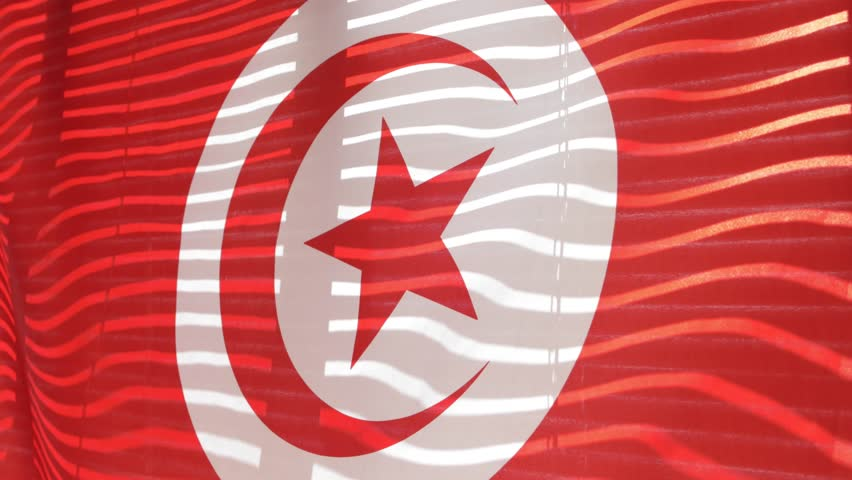 Tunisian flag hanging at wide jalousie window. Closeup  #1011468842