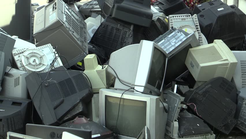 OLOMOUC, CZECH REPUBLIC, APRIL 25, 2018: Collection and sorting of electrical waste of monitors, televisions and other electronics. Danger waste for nature and the environment, requires recycling dump