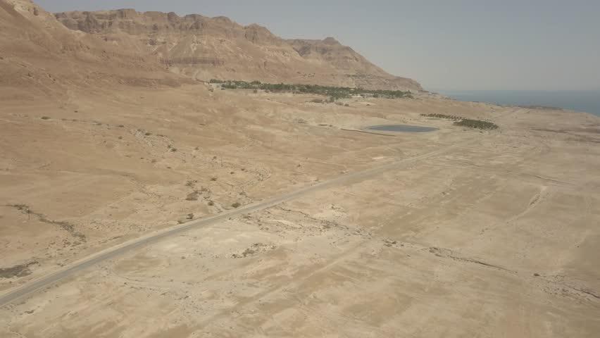 Dead sea desert 4k aerial view ungraded flat | Shutterstock HD Video #1011483212