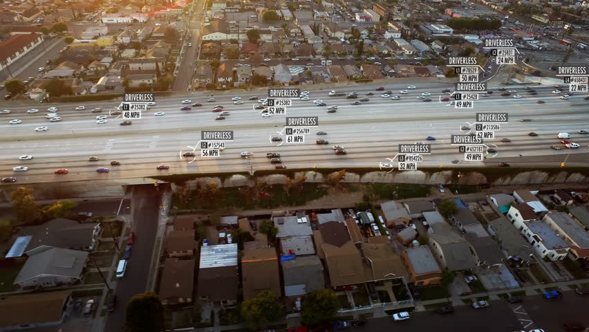 Driverless or autonomous car aerial view. Traffic passing by a highway. Miles per hour and fake data displaying. Future transportation. Artificial intelligence. Self driving.  #1011485612