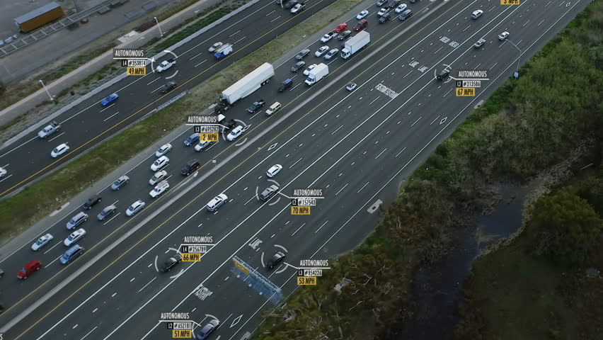 Autonomous car aerial view. Traffic passing by a highway. Miles per hour and fake data displaying. Future transportation. Artificial intelligence. Self driving.   #1011485642
