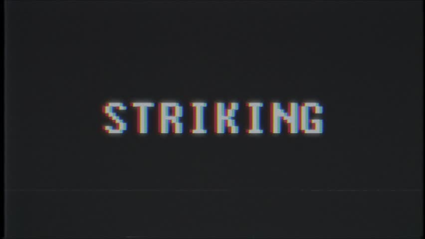 Retro videogame STRIKING word text computer tv glitch interference noise screen animation seamless loop New quality universal vintage motion dynamic animated background colorful joyful video m   Shutterstock HD Video #1011505412
