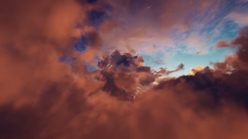 Flight sunset sky clouds 3d animation | Shutterstock HD Video #1011508322