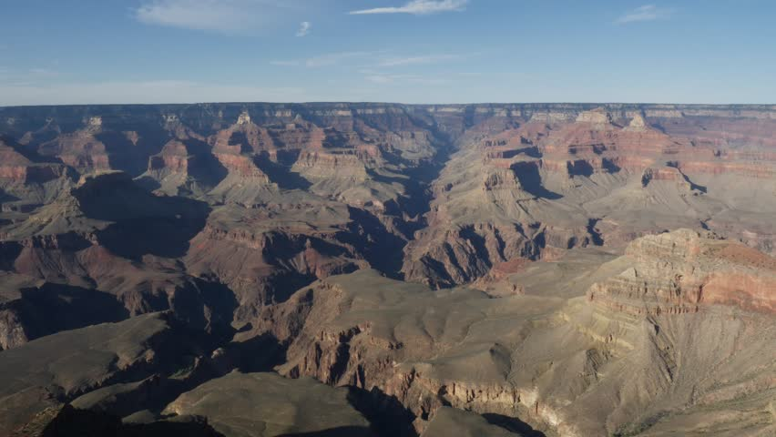 Panorama of the eroded plateau and steep gorge of the Grand Canyon from the southern rim