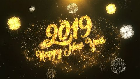 2019 Happy New Year Greeting Card text Reveal from Golden Firework & Crackers on Glitter Shiny Magic Particles & Sparks Night star sky for Celebration, Wishes, Events, Message, holiday, festival