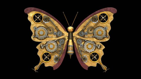 Steampunk butterfly. 3D model animation. Seamlessly loop-able 4K animation. The first 4 seconds are in regular speed and the next 8 seconds are slow motion speed. Best for Steampunk style design & art