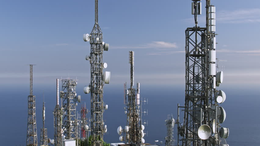 Aerial view of telecom antennas telecommunications towers | Shutterstock HD Video #1011620522