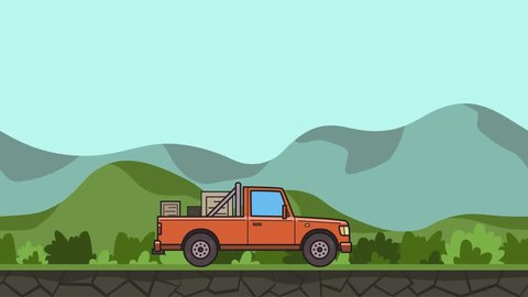 Animated pickup truck with boxes in the trunk riding through green valley. Moving delivery car on hilly landscape background. Flat animation