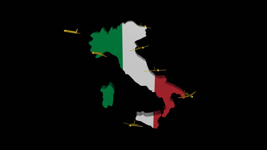 Italy map with italian flag and euros rotating animation stock planes departing italy map flag animation hd stock footage clip gumiabroncs Choice Image