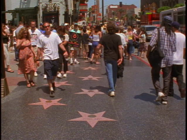 LOS ANGELES, 1999, Hollywood Walk of Fame, stars on sidewalk, people