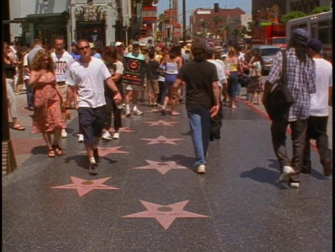 LOS ANGELES, 1999, Hollywood Walk of Fame, stars on sidewalk, people